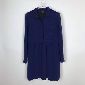 Madewell Silk Cinema Long Sleeve Navy Shirt Dress